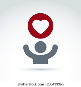 Vector charity and donation symbol. Illustration of a red loving heart and a human with hands up. Concept of assistance and volunteer.