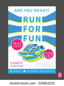 Vector Charity Marathon flyer template with slogan Run For Fun. Business illustration.