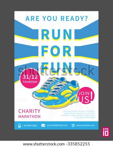 Vector Charity Marathon Flyer Template Slogan Stock Vector Royalty