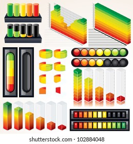 Vector Chart, Graph and Scales. Set of Isolated Infographics Elements for your Design.