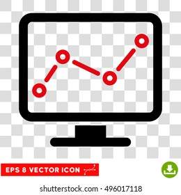 Vector Chart Monitoring EPS vector icon. Illustration style is flat iconic bicolor intensive red and black symbol on a transparent background.