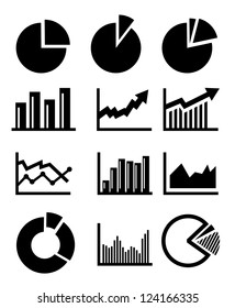 vector charts and graphs collection icons set