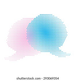vector chat bubbles of pink and blue hearts of different sizes