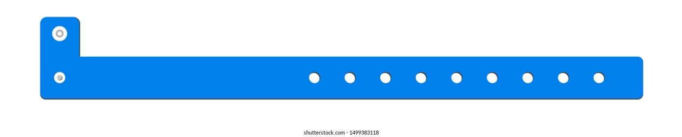 Vector cheap plastic blue empty bracelet or wristband. L shape pvc vinyl material with safety lock. Hand entrance festival or bracelet isolated on white. Template suitable for identification.