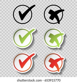 Vector check mark black, green and red simple symbols on transparency background, circular buttons with shadow