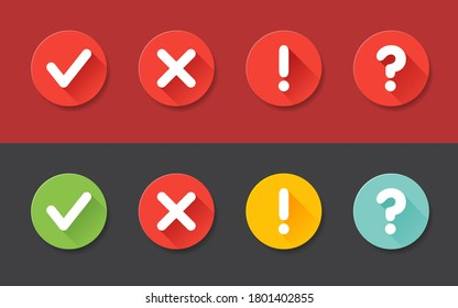 Vector check mark exclamation mark, question mark icons set. Flat icons for web and mobile applications. Circle flat design with shadows.