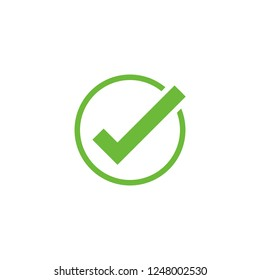 Vector check mark icon. Approve symbol. Check mark shape. Design element logo mobile app interface card or website