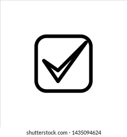 Vector check mark icon. symbol of check list, approval, or confirm with trendy flat outline style icon for web site design, logo, app, UI isolated on white background