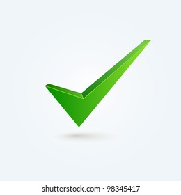 Vector check mark isolated on blue background
