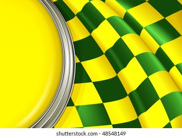 Vector Checkered Background, yellow and green