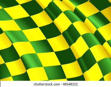 Vector Checkered Flag, yellow and green