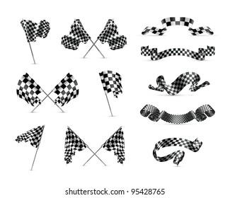 Vector Checkered flags, set
