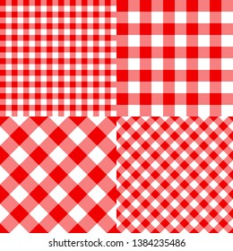 Vector checkered seamless pattern for plaid, tablecloth, packaging and picnic. Set red classic pattern. Striped texture. Traditional gingham fabric style.