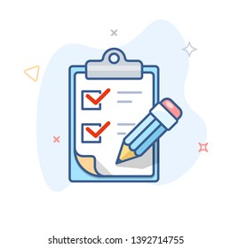Vector checklist line icon. Clipboard with survey and pen outline illustration.