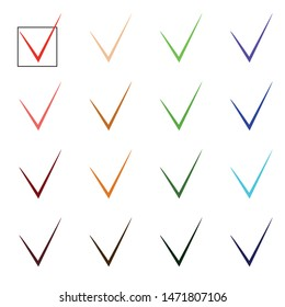 Vector checkmark collection set. Acceptance, approval, right choice, correct selection, true option, positive answer, saying yes, confirmation concept. Vector illustration isolated on white.