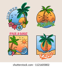 Vector cheerful badge collection of summer beach holiday.