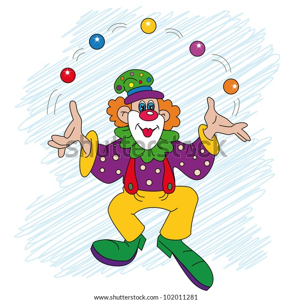 Clown Cartoon Character Juggling With Balls In Front Of Circus Tent Stock  Illustration - Illustration of clouds, clown: 39372345