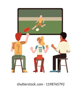 Vector cheerful men and woman sitting at chair at pub, bar or cafe holding glass of beer raising hand up watching football match on tv rooting for the team. Isolated illustration