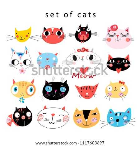 Vector cheerful set of portraits of funny cats on a white background. An example for the design of business cards and other sites.