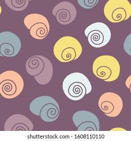 Vector Cheerful Snail Shells on Purple seamless pattern background.