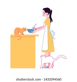 Vector cheerful woman in apron cooking at kitchen surrounded by lovely cats. Attractive young girl with her adorable feline pets. Cute pussycat animal owner cooks at home with cats