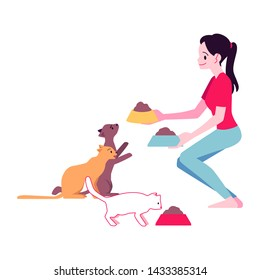 Vector cheerful woman in casual outfit feeding cats. Attractive young girl with her adorable feline pet. Cute pussycat animal owner embracing and hugging kitty