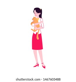 Vector cheerful woman in skirt holding smiling cat. Attractive young girl with her adorable feline pet. Cute pussycat animal owner embracing and hugging kitty