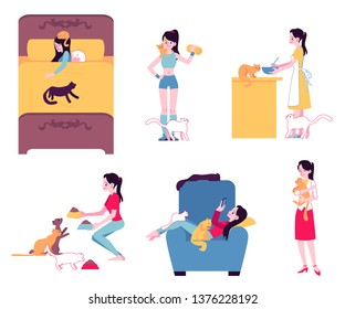 Vector cheerful women cat owners doing everyday activities surrounded by cats. Girl in skirt hugging kitty, female character cooking, sleeping with pussycat, doing workout, feeding pets.