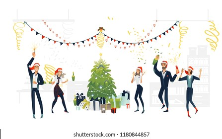 Vector cheerful young men, women at new year party in corporate clothing and merry xmas hat holding champagne glass, bottle sparkle near christmas tree present. Happy office workers manager at holiday