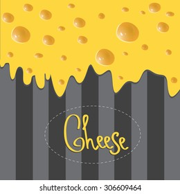 Vector Cheese brochure on dark background made of stripes