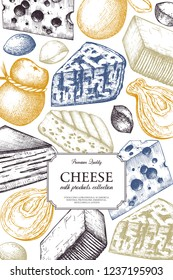 Vector Cheese design. Hand drawn dairy  food illustrations on white background. Vintage milk products frame. Restaurant or shop menu template.