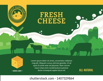 Vector cheese illustration with rural landscape, cows and calves for groceries, agriculture stores, packaging and advertising. Realistic milk splash. Dairy farm or farming design elements.