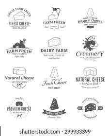 Vector cheese logo, label and icons