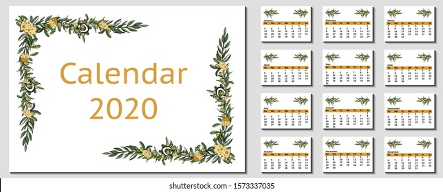 Vector cheese and olive branches frame, horizontal calendar with pages. Food elements border design.  2020 new year