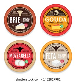 Vector cheese round labels and packaging design templates. Different types of cheese detailed icons. Dairy products illustration for dairies, package and groceries branding. Cow, sheep and goat icons.