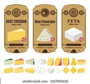 Vector cheese vintage labels and packaging design templates. Different types of cheese detailed icons. Dairy products illustration for dairies, farms and groceries branding.