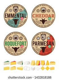 Vector cheese vintage round labels and packaging design templates. Different types of cheese detailed icons. Dairy products illustration for dairies, package and groceries branding.