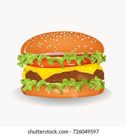 Vector cheeseburger on isolated white ground