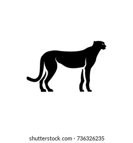 Vector cheetah silhouette view side for retro logos, emblems, badges, labels template vintage design element. Isolated on white background