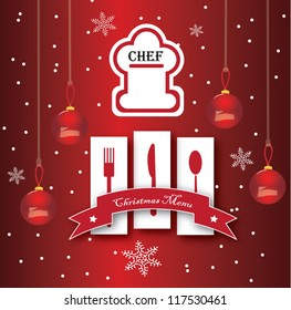 Vector Chef card design with christmas concept