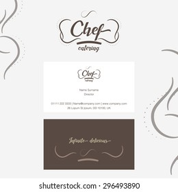 Vector : Chef catering Logo with business card in line ornament style