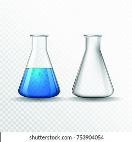 Vector chemical flasks. Transparent bulb.
