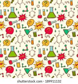 Vector chemistry background. Vector chemistry laboratory pattern.