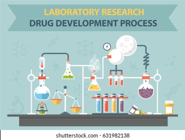 Vector chemistry lab work-space and science equipment.
