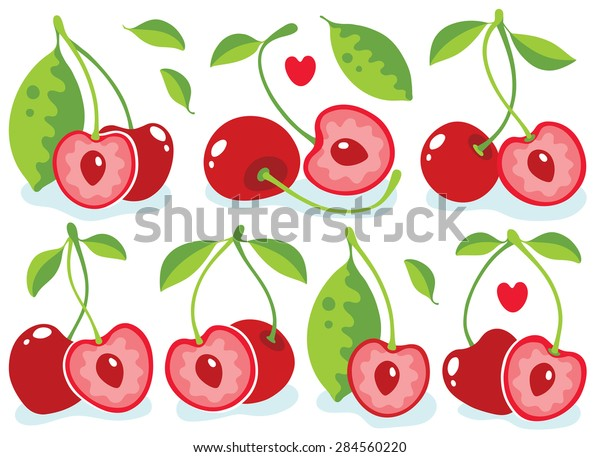 Vector cherries. Cute heart-shaped cherries, collection of vector illustrations