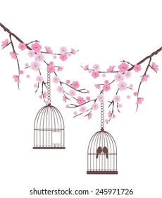 vector cherry blossom branches with birds in a cage