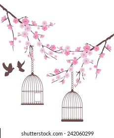 vector cherry blossom branches with doves and cages