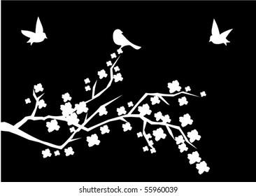 vector cherry brunch with birds