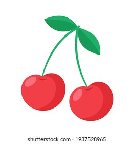 Vector cherry illustration. Isolated on a white background. Cartoon style icon