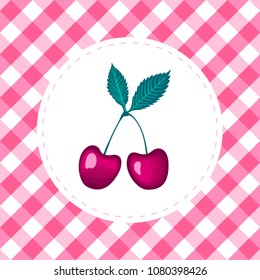 Vector Cherry on round white frame with chkered vichy Seamless pattern background.